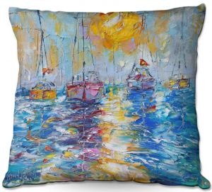 Throw Pillows Decorative Artistic | Karen Tarlton - Sailboats Anchored | sea water bay harbor ocean