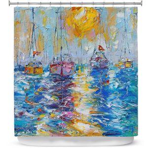 Premium Shower Curtains | Karen Tarlton - Sailboats Anchored | sea water bay harbor ocean
