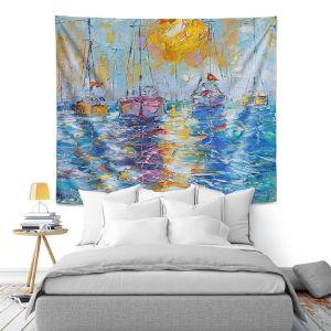 Artistic Wall Tapestry   Karen Tarlton - Sailboats Anchored   sea water bay harbor ocean