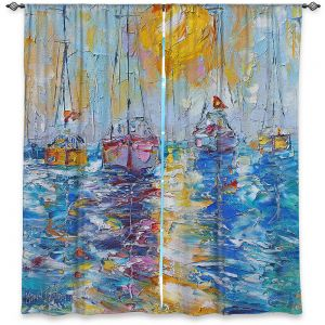 Decorative Window Treatments | Karen Tarlton - Sailboats Anchored | sea water bay harbor ocean