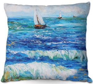 Decorative Outdoor Patio Pillow Cushion | Karen Tarlton - Sailing Sailboats I