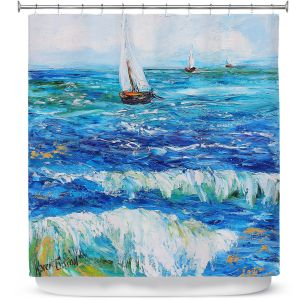 Premium Shower Curtains | Karen Tarlton - Sailing Sailboats I