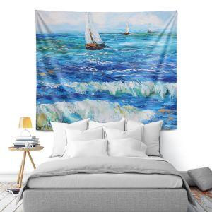 Artistic Wall Tapestry | Karen Tarlton - Sailing Sailboats I