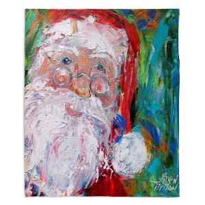 Decorative Fleece Throw Blankets | Karen Tarlton - Santa 2 | Santa Claus Christmas
