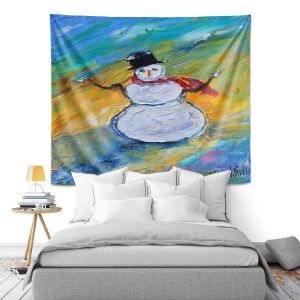 Artistic Wall Tapestry | Karen Tarlton - Snowman | Winter Snow Christmas