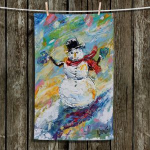 Unique Hanging Tea Towels | Karen Tarlton - Snowman 2 | Snow Weather Christmas Holiday