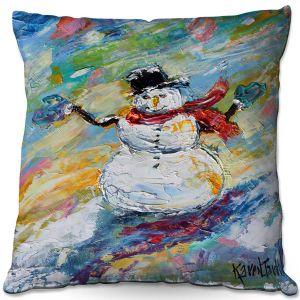 Decorative Outdoor Patio Pillow Cushion | Karen Tarlton - Snowman 2 | Snow Weather Christmas Holiday
