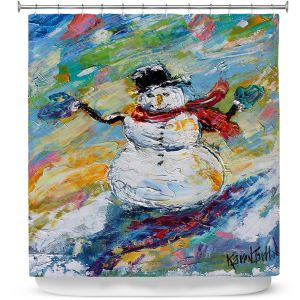 Premium Shower Curtains | Karen Tarlton - Snowman 2 | Snow Weather Christmas Holiday