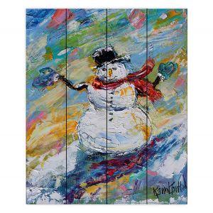 Decorative Wood Plank Wall Art   Karen Tarlton - Snowman 2   Snow Weather Christmas Holiday