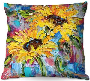Decorative Outdoor Patio Pillow Cushion | Karen Tarlton - Sunflower Joy