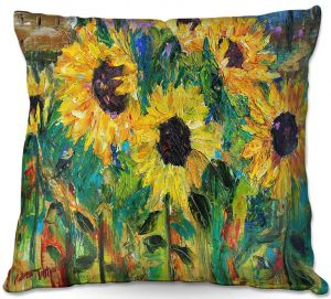 Unique Outdoor Pillows from DiaNoche Designs by Karen Tarlton - Sunflower Sunshine