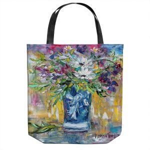 Unique Shoulder Bag Tote Bags | Karen Tarlton - Sweet Peas | Flower Still Life Bouquet