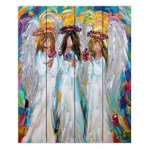 Decorative Wood Plank Wall Art | Karen Tarlton - Three Spring Angels | People Spiritual