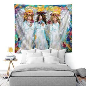 Artistic Wall Tapestry   Karen Tarlton - Three Spring Angels   People Spiritual