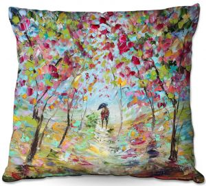 Throw Pillows Decorative Artistic | Karen Tarlton - Walk in the Park | Landscape trees path nature