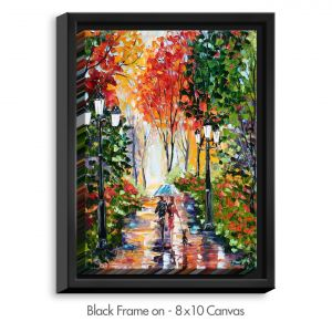 Decorative Canvas Black Frame 16x12 from DiaNoche Designs by Karen Tarlton - Walking the Dog