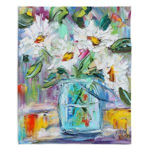 Decorative Fleece Throw Blankets   Karen Tarlton - White Daisies   Still life jar flower
