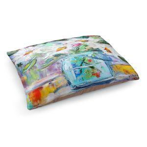Decorative Dog Pet Beds | Karen Tarlton - White Daisies | Still life jar flower