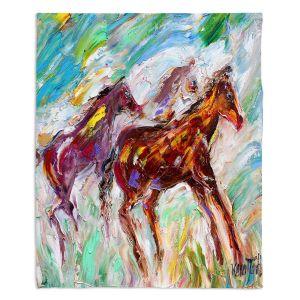 Decorative Fleece Throw Blankets | Karen Tarlton - Wild Mustangs Horses | Animals Horses Nature