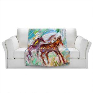 Artistic Sherpa Pile Blankets | Karen Tarlton - Wild Mustangs Horses | Animals Horses Nature
