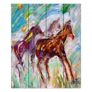 Decorative Wood Plank Wall Art   Karen Tarlton - Wild Mustangs Horses   Animals Horses Nature