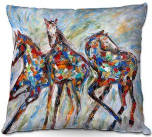 Throw Pillows Decorative Artistic   Karen Tarlton - Wild Mustangs   Horse nature animal