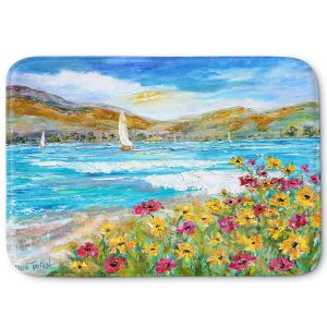 Decorative Bathroom Mats | Karen Tarlton - Wildflowers Sea | Mountain Sailing Sailboat
