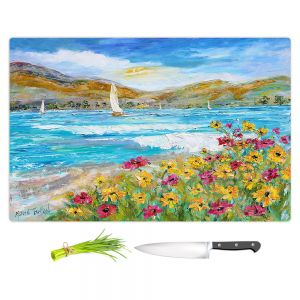 Artistic Kitchen Bar Cutting Boards | Karen Tarlton - Wildflowers Sea | Mountain Sailing Sailboat