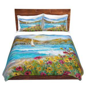 Artistic Duvet Covers and Shams Bedding   Karen Tarlton - Wildflowers Sea   Mountain Sailing Sailboat