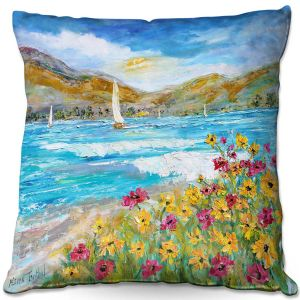 Unique Outdoor Pillow 16x16 from DiaNoche Designs by Karen Tarlton - Wildflowers Sea