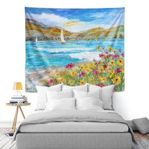 Artistic Wall Tapestry | Karen Tarlton - Wildflowers Sea | Mountain Sailing Sailboat
