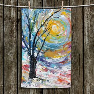Unique Hanging Tea Towels | Karen Tarlton - Winter Poetry | Trees Sun