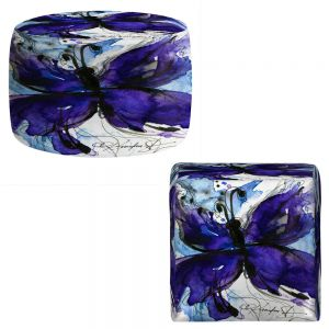 Round and Square Ottoman Foot Stools | Kathy Stanion - Butterfly Song IV