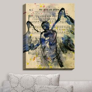 Decorative Canvas Wall Art | Kathy Stanion - Calling All Angels XLIII | Sheet Music Angels Prayer