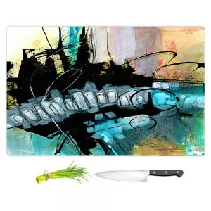 Artistic Kitchen Bar Cutting Boards   Kathy Stanion - Coddiwomple 07   abstract brush strokes collage