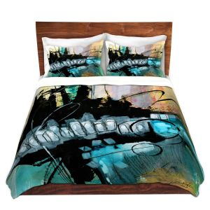 Artistic Duvet Covers and Shams Bedding | Kathy Stanion - Coddiwomple 07 | abstract brush strokes collage