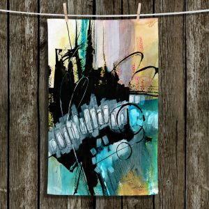 Unique Bathroom Towels | Kathy Stanion - Coddiwomple 07 | abstract brush strokes collage