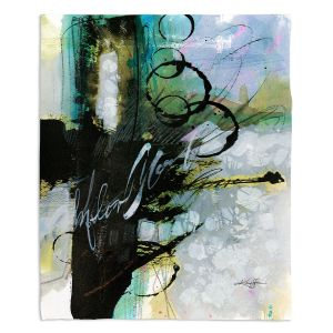 Decorative Fleece Throw Blankets | Kathy Stanion - Coddiwomple 09 | abstract brush strokes collage