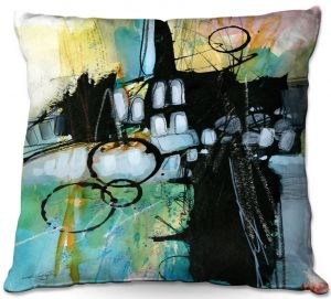 Decorative Outdoor Patio Pillow Cushion | Kathy Stanion - Coddiwomple10 | abstract brush strokes collage