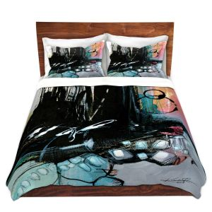 Artistic Duvet Covers and Shams Bedding | Kathy Stanion - Coddiwomple13 | abstract brush strokes collage