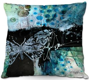 Decorative Outdoor Patio Pillow Cushion | Kathy Stanion - Coddiwomple16 | abstract brush collage butterfly