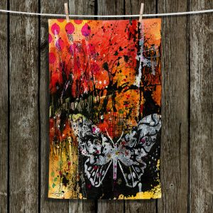 Unique Hanging Tea Towels | Kathy Stanion - Coddiwomple18 | abstract brush collage butterfly