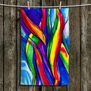 Unique Hanging Tea Towels | Kathy Stanion - Color Dance of the Sea | Abstract Colorful Bright
