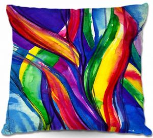 Unique Outdoor Pillow 16X16 from DiaNoche Designs by Kathy Stanion - Color Dance of the Sea