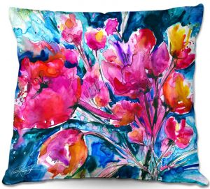 Decorative Outdoor Patio Pillow Cushion | Kathy Stanion - Colorful Blooms