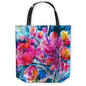 Unique Shoulder Bag Tote Bags | Kathy Stanion Colorful Blooms