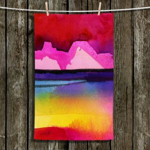 Unique Hanging Tea Towels | Kathy Stanion - Desert Dreams IV | Abstract Colorful Mountain