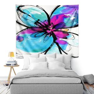 Artistic Wall Tapestry   Kathy Stanion - Ecstasy Bloom 17   Nature Abstract Landscape Flowers