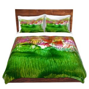 Artistic Duvet Covers and Shams Bedding | Kathy Stanion - Encaustic Abstract 15 | abstract shape flow