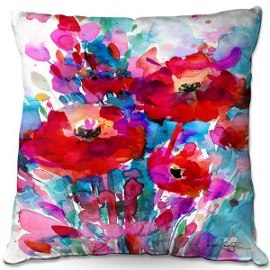 Decorative Outdoor Patio Pillow Cushion | Kathy Stanion - Enchantment 13 | Nature Abstract Landscape Flowers